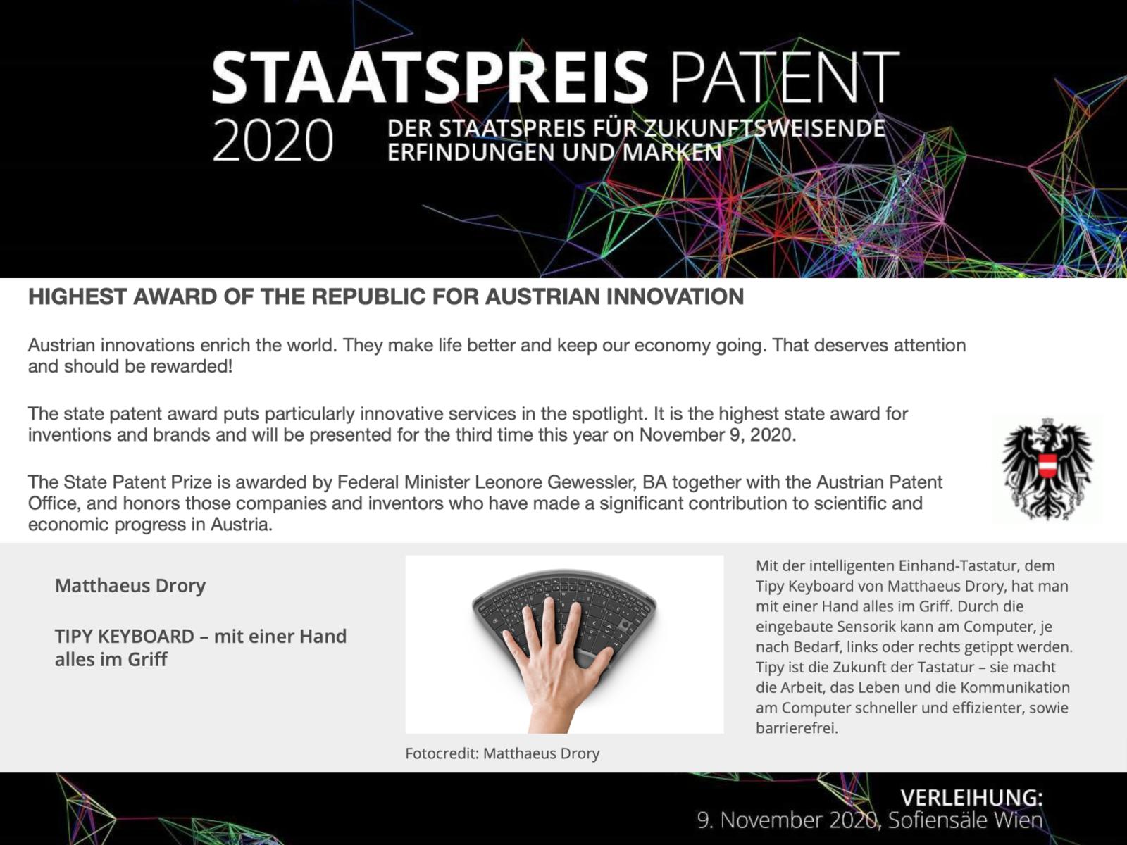Austrian, State, Patent, Prize, 2020, Österreich, Staatspreis, Patent, Tipy, Keyboard, Tastatur, Einhand, Einhandtastatur, Hand, One, Computer, Barrierefrei, disabled, one handed keyboard,